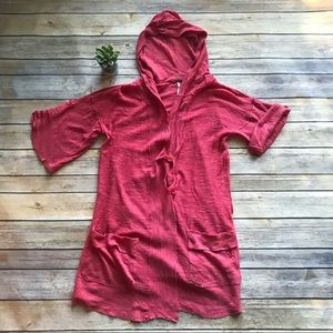 Free People Linen Cotton Hooded Cardigan Sz Small
